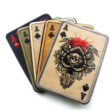 Cavalryman Ace of Spades Tarot Card Death Card Rectangular Embroidered Patch Morale Tactical Patch Army Morale Adhensive Patch(China)