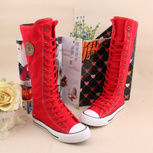 Women Girl Punk Rock Emo Gothic zip Lace up Canvas boot cheerleading choreography special sneaker  genuine canvas shoes Baok-905