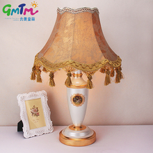 European Palace Style Night lamp Hand Painted Gold Table Lamp Hardware Lamp Post and Cloth Cover Bedroom Light Hotel Lamp Gift(China)