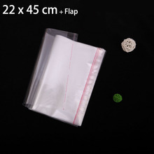 "200 pcs 22 x 45 cm Crystal Clear Resealable Cellophane Bags 8.66"" x 17.72"" OPP Self Adhesive Seal Plastic Bag"