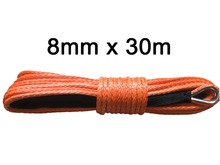 Free shipping 8mm*30m uhmwpe rope synthetic winch rope for offroad kevlar winch line(China)