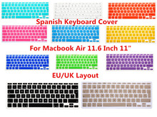 "HRH EU/UK ESP Spanish Silicone Keyboard Cover Keypad Skin Protector For Apple MacBook Air 11.6 inch 11"" EU For Mac book 11"" 11.6"