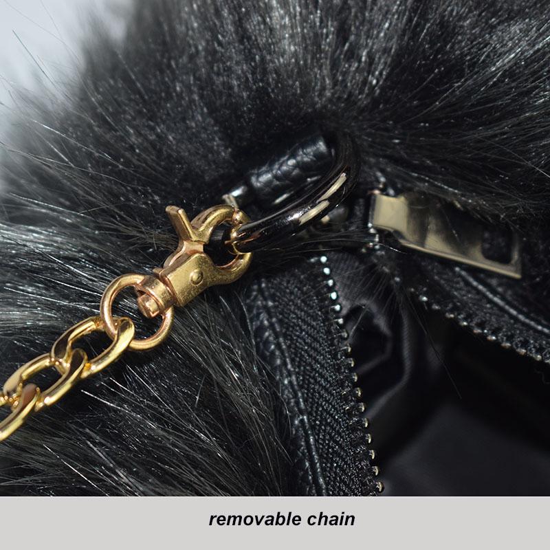 fur handmuff removable chain
