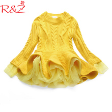 R&Z Baby Girls Weater Dress New 2018 Girls Knitted Autumn Winter Children Clothing Pullovers Sweaters Crochet Kids Girl Clothes