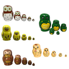 Baby Toys Matryoshka 5 Layer Wooden Animal Hand Painted Russian Nesting Dolls Home Decoration Children Gifts 88 M09