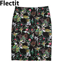 2017 Women Floral Pencil Skirt Elastic High Waist Flower Knee Length Wrap Split Bodycon Tight Skirt Saia Feminina