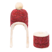 Baby Scarf Set Hat Snapback Wool Braid Winter Chapeu Kids Fleece Hats Infant Crochet Beanies Baby Knit Costume 60C251(China)