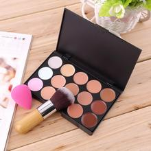 Hot Selling Top 15 Colors Concealer Palette + Bamboo Handle Round Brush + Sponge Puff Makeup Contour Palette