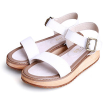 Women Sandals 2017 Genuine Leather wedge heels Sandals Women Shoes Girls Platform Buckle Open Toe Sandals Casual Plus Size 43
