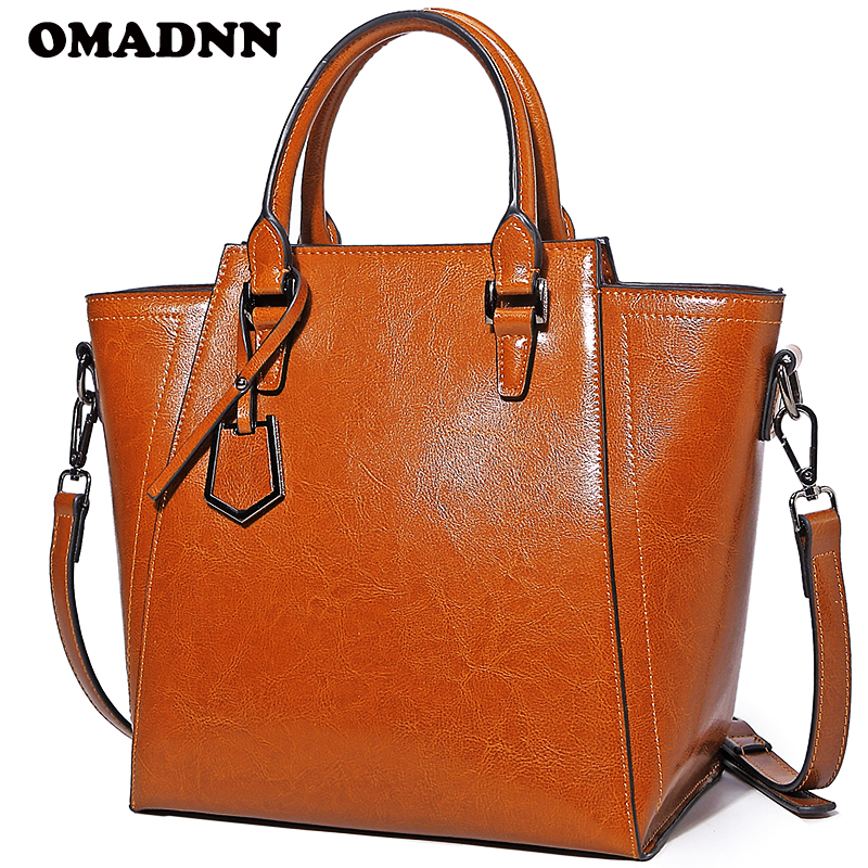 OMADNN Fashion Women Leather Handbag Simple Shoulder Bags Large Capacity Female Zipper Solid Tote Pack a main Crossbody Bags<br>