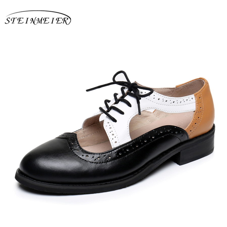 Genuine leather big woman US size 11 designer vintage flat shoes Sandals handmade black white brown 2017 oxford shoes for women<br>