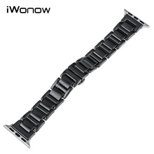 Full Ceramic Watchband 38mm 42mm iWatch Apple Watch Sport Edittion Butterfly Buckle Band Wrist Strap Bracelet Black White - Nicebuy Store store