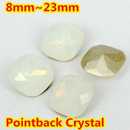 White Opal Square Shape Crystal Fancy Stone Point Back Glass Stone For DIY Jewelry Accessory.8mm 10mm 12mm 14mm 18mm 23mm<br>