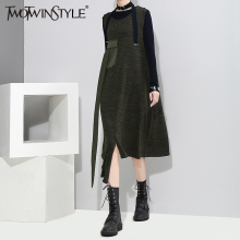 Buy TWOTWINSTYLE Sleeveless Autumn Midi Long Dress Female Asymmetrical Women Dresses Casual Clothes Korean Pocket Big Sizes New for $22.79 in AliExpress store
