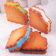 1PC Simulation Sandwich Miniature Fake Cookies Biscuit DIY Decorative Craft Eat Me Squishy Cellphone Charms Straps Random