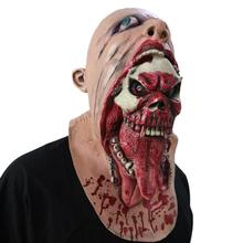 Funny Bloody Zombie Mask Melting Face Adult Latex Costume Walking Dead Halloween Scary HeadMasks Halloween Zombie Party #XTT(China)