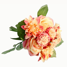 Silk Flower 1 Bouquet Roses Dahlias Artificial Flowers Fall Vivid Fake Leaf Wedding Home Decoration High Quality light orange
