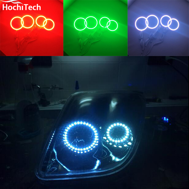 for fiat coupe 1993 1994 1995 1996 1997 1998 1999 2000 LED perimeter headlight rings halo Multi-color RGB angel demon eyes<br>