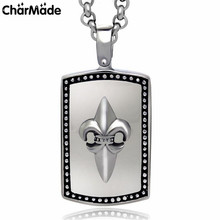 Fashion Scout Lily Pendant Necklace For Men Women Stainless Steel Dog Tag Necklace Statement Jewelry Collier Homme Bijoux P008