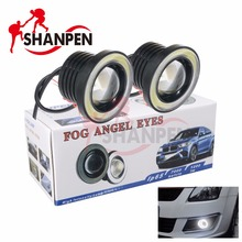 Car Fog angel eyes Light 2.5 Inch 64mm COB Lamp 12V 10W 3200lm IP65 With an aperture White/ blue/Ice blue(China)
