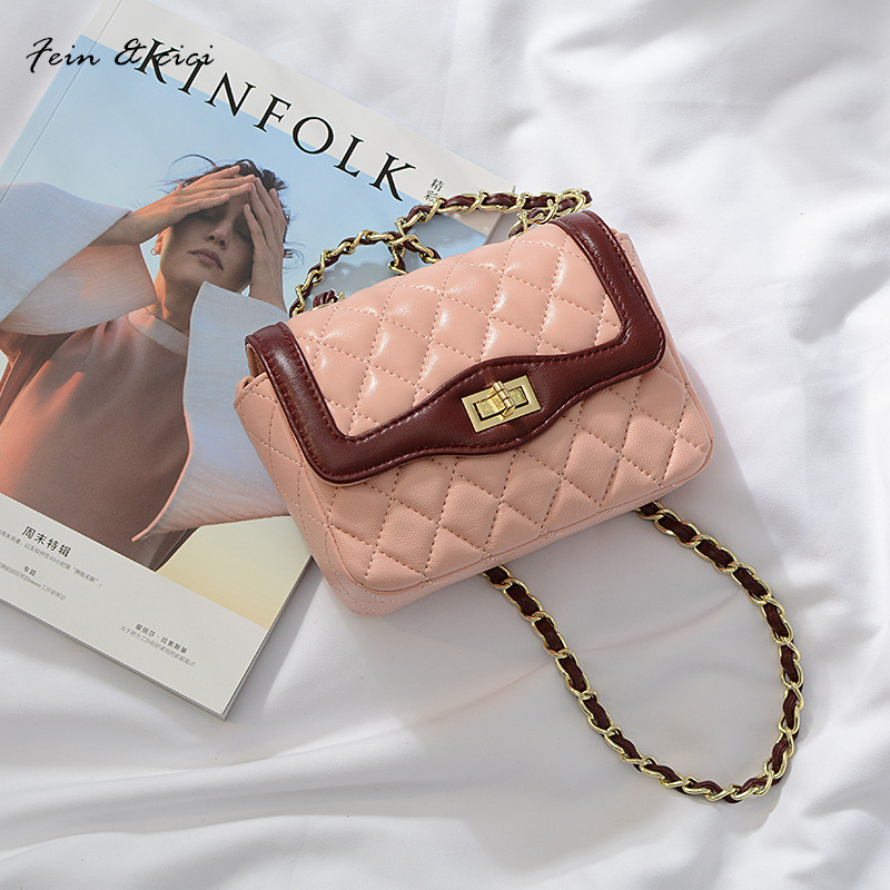 genuine leather  mini messenger bag women small crossbody flap bag summer 2017 new fashion chains bag pink black red color<br>