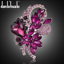 Danbihuabi 3 inches large brooches wedding jewelry leaf design big glass brooch for women bijuterias acessorios(China)