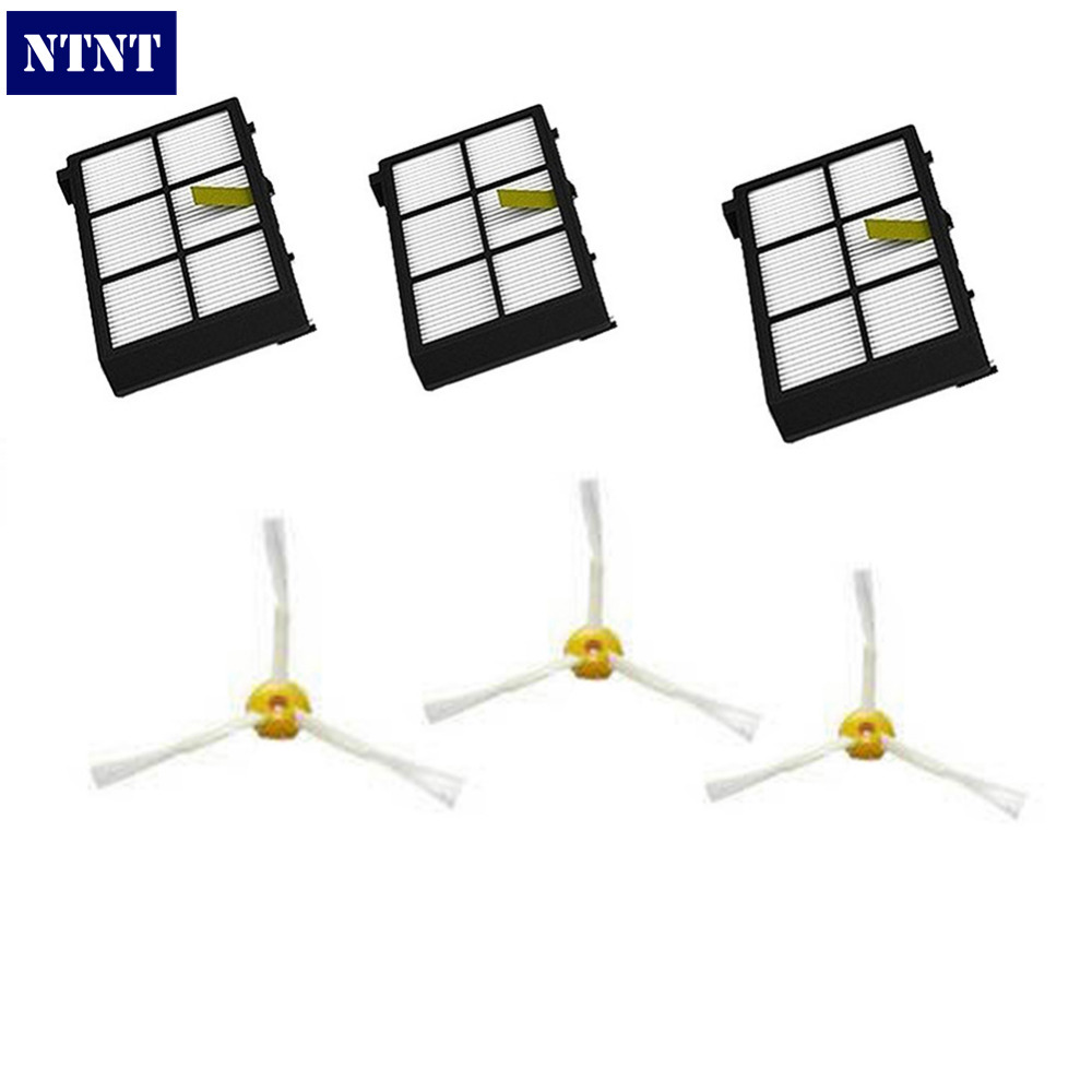 NTNT Free Post New For iRobot Roomba 800 Series filter 870 880 3 pack filter 3 pack side brush<br><br>Aliexpress
