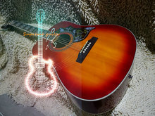 Wholesale and retail Cherry burst Hummingbird Acoustic Guitar Free Shipping