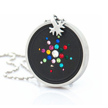 Volcanic Lava Quantum Pendant with Stainless Steel Protector Colorful CZ Crystal Best Gift Charms Negative Ions Keep Health 2pcs
