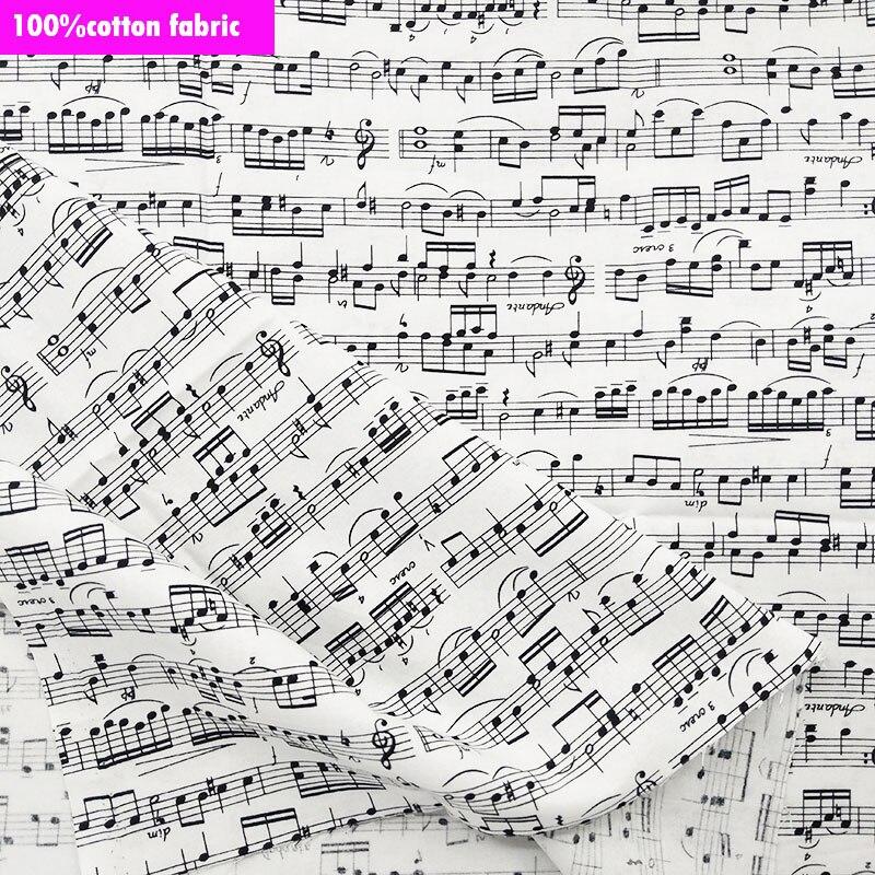 Notas de la música en Negro 100/% Tela De Algodón