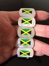 Free shipping 1pc/lot jamaica map flag natural seasheel material jewelry pendant jamaican necklace Bracelet Wristband gift
