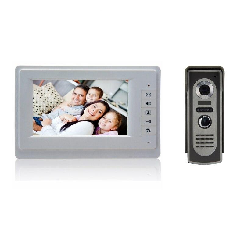 Free Shipping 7Inch TFT Color Video door phone Intercom Doorbell System Kit IR Camera doorphone monitor Speakerphone intercom<br><br>Aliexpress