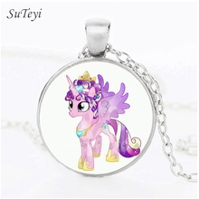SUTEYI Cute Kids Toy Gifts Necklace Cartoon My Little Ponies Glass Pendant Silver/Bronze/Black Plated Necklaces Movie Jewellery
