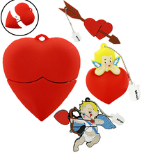 U Disk pen drive cartoon red heart best gift 4gb/8gb/16gb/32gb/64gb bulk usb flash drive flash memory stick pendrive mini cupid