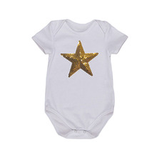 Baby Girl Romper Clothes Short Sleeve Black 4 Sizes Star Pattern Summer Newborn Baby Girl Jumpsuit Top For NB-24M