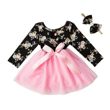 Girls Flower Autumn New Spring Girl  Ball Gown Party Print Dresses Baby Girl Clothes Kids Set With Headband Kids Dresses