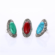 New Unique Boho Vintage Stone Rings Women's & Love Punk Female Ring Retro Wedding Rings Jewelry Large Green Stone Party Ring