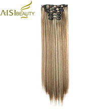 "AISI BEAUTY 24"" 140g / 6 Pieces / Set High Temperature Fiber Silky Straight Synthetic Clip in Hair Extensions for Women"