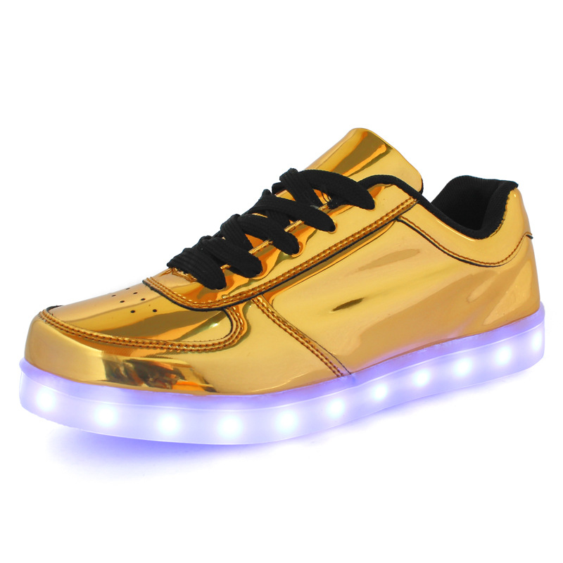 2017 New Fashion Unisex USB Charging Lights Up Led Shoes For Lovers Gold Silver Luminous Casual Shoes For Adult c119 15<br><br>Aliexpress