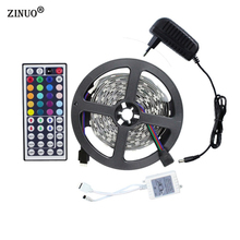 ZINUO 5M RGB Led Strip Light Kit SMD5050 150Leds Flexible Light+44Keys Remote Controller+12V 2A Power Supply Home Decoration(China)