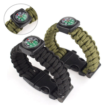 1pc Black Army Green Multifunctional Outdoor Survival Nylon Bracelet Flint Fire Starter Compass Whistle Rescue Wristbands