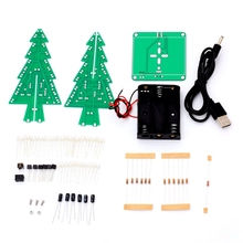 7Color Three-Dimensional 3D Christmas Tree LED DIY Kit Colorful Flash Circuit Electronic Fun Gift BU0276(China)