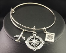 Silver Wanderlust Traveling The World Airplane Compass Passport Charm Wire Wrapped Bangle Bracelet Traveler Jewellery