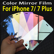 Tempered glass For iPhone7 i7 iPhone 7 plus screen protector cover Colorized Mirror Plating Toughened Protective Guard Film case(China)