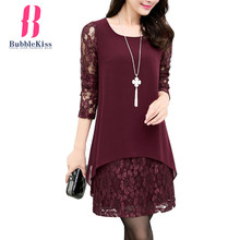 Lace Chiffon Dress Women Patchwork Autumn Winter Hollow Out Office Dresses Elegant Long Sleeve O Neck Burgundy Shift Mini Dress