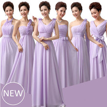 chiffon custom made size purple bridesmaid dresses cheap lilac woman long back halter neckline dress party elegant W1511