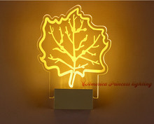Free shipping LED children's room bedroom bedside aisle stairs Maple Leaf lamp, warm white, size: 23CM * 19CM * 5CM, AC110-240V.