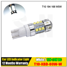 1Pcs T10 W5W High Power XBD Chips 80W LED 12V 24V 194 168 CANBUS NO ERROR DRL Backup Reverse Dome Lights for Car Lamp