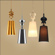 Silver or golden Modern single-head dia18cm H52cm led chandeliers fashion PVC lampshade desk lamp gold dining room pendant lamp(China)