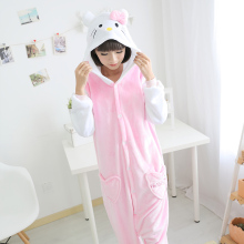 Hello Kitty Women Couple Pajama Sets Pink Cute Animal Pijamas Flannel Pyjama Femme For Hallowwen Christmas Carnival